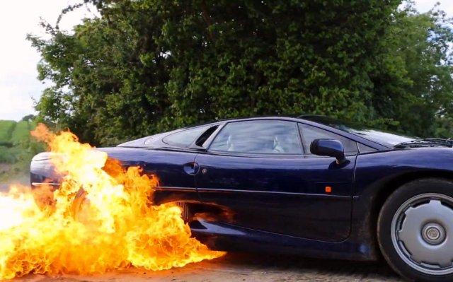 Jaguar XJ220 fire tax the rich video
