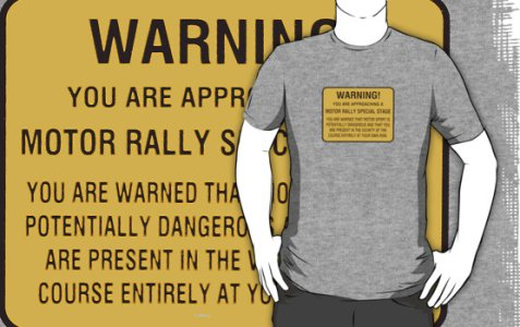 Rally danger sign t-shirt motorsport