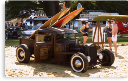 retro beach rat rod poster print