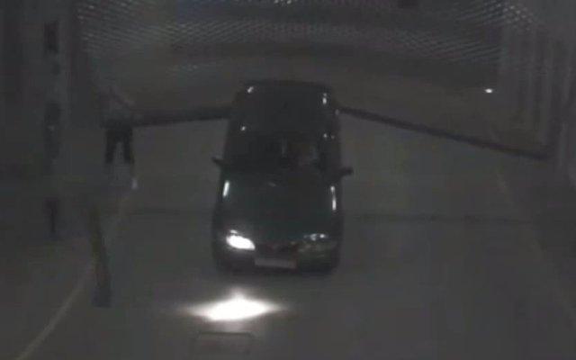 car park flip crash caught on video