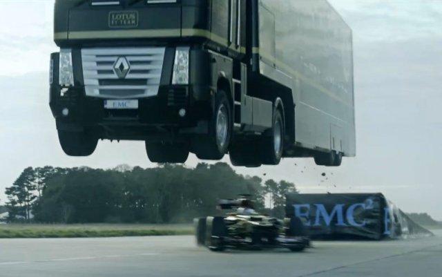 Lotus F1 car truck jump video