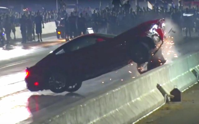 2015 Ford Mustang drag race crash