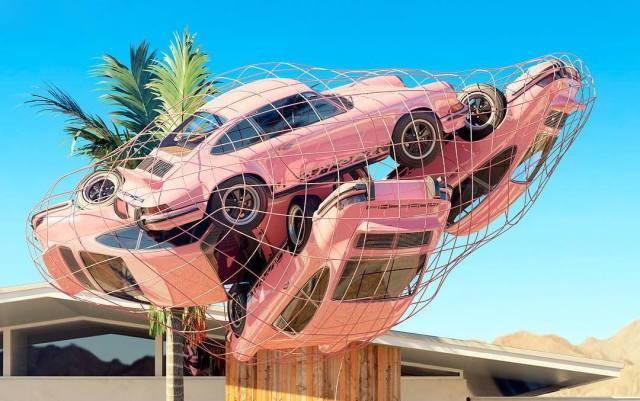 Chris Labrooy pink Porsche 911 art sculpture 1