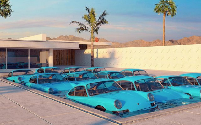 Chris Labrooy Porsche 911 art sculpture swimming pool