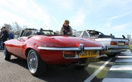 Jaguar E-Type rear Goodwood Breakfast Club Soft Top Sunday May 2016