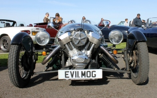 Morgan 3 Wheeler front Goodwood Breakfast Club Soft Top Sunday May 2016