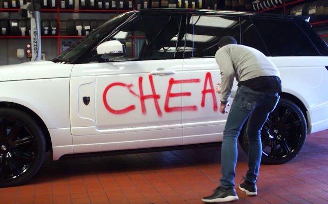 Revere vandalised Range Rover cheater publicity stunt in London